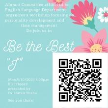 ورشة عمل بعنوان (طور ذاتك لتصبح الأفضل) في كلية العلوم والدراسات الإنسانية بالخرج (أقسام الطالبات)